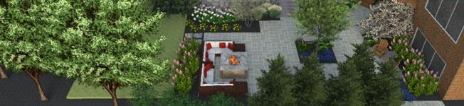 3D rendering of garden patio